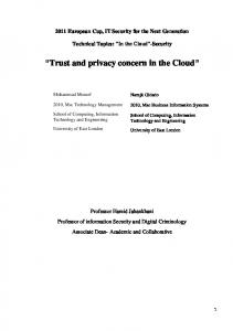 Trust and Privacy Concern In The Cloud (PDF Download Available)