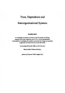 Trust, Dependence and Interorganizational Systems