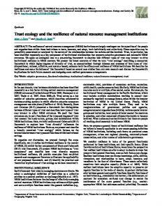 Trust ecology and the resilience of natural resource management ...