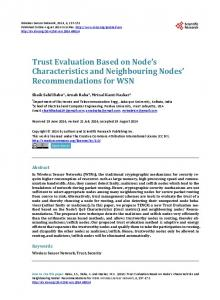 Trust Evaluation based on Node's Characteristics and Neighbouring