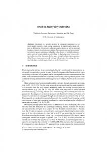Trust in Anonymity Networks - ePrints Soton - University of Southampton