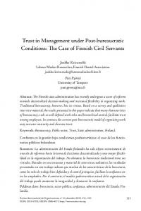 Trust in Management under Post-bureaucratic Conditions: The Case ...
