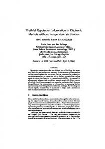 Truthful Reputation Information in Electronic ... - Semantic Scholar