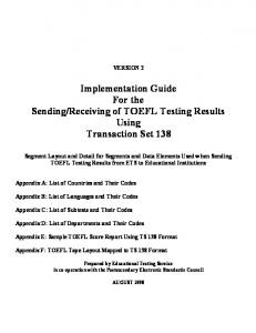 TS 138 TOEFL Implementation Guide PDF format - ETS