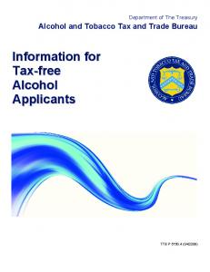 TTB P 5150.4 -- Information for Tax-Free Alcohol Applicants