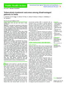 Tuberculosis treatment outcomes among disadvantaged patients in India