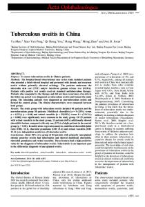 Tuberculous uveitis in China - Wiley Online Library