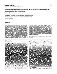 tubulin is required for oocyte meiosis and cleavage ... - Semantic Scholar