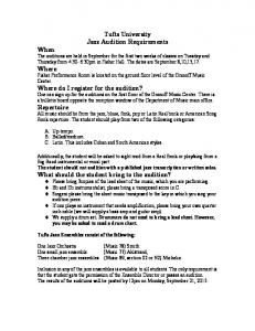 Tufts University Jazz Audition Requirements When Where Where do ...