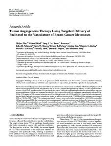 Tumor Angiogenesis Therapy Using Targeted Delivery of Paclitaxel to ...