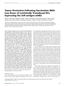 Tumor Protection Following Vaccination With Low ... - CyberLeninka