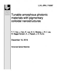 Tunable amorphous photonic materials with pigmentary ... - OSTI.GOV