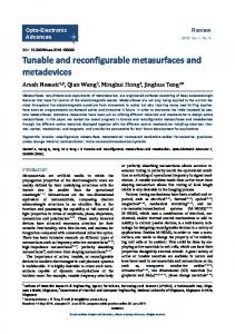 Tunable and reconfigurable metasurfaces and