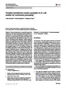 Tunable recombinant protein expression in E. coli ... - Springer Link