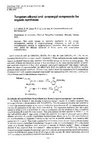 Tungsten-alkynyl and -propargyl compounds for organic ... - Core