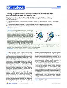Tuning Enzyme Kinetics through Designed ... - ACS Publications