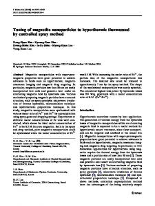 Tuning of magnetite nanoparticles to hyperthermic ... - Springer Link