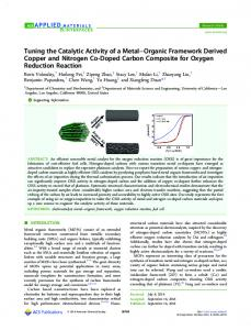Tuning the Catalytic Activity of a Metal-Organic Framework Derived ...