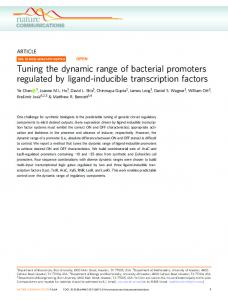 Tuning the dynamic range of bacterial promoters regulated by ... - Nature