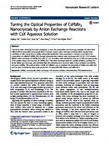 Tuning the Optical Properties of CsPbBr3 Nanocrystals by Anion