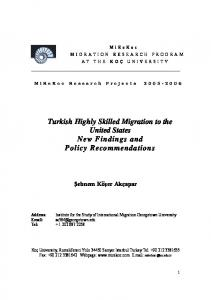 Turkish Highly Skilled Migration to the United States New Findings ...