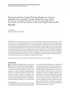 Turning Land into Capital, Turning People into Labour ... - UBC Library