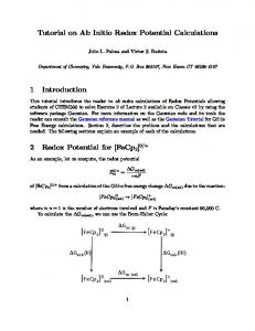 Tutorial on Ab Initio Redox Potential Calculations - Yale Department of ...