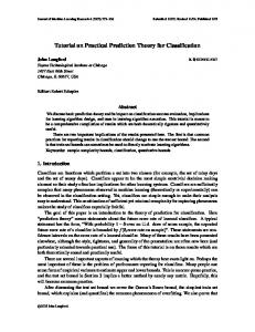 Tutorial on Practical Prediction Theory for Classification