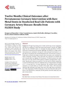 Twelve Months Clinical Outcomes after Percutaneous Coronary ...