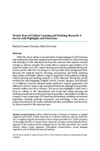 Twenty Years of Culture Learning and Teaching