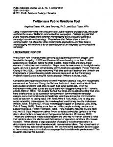 Twitter as a Public Relations Tool - Public Relations Journal