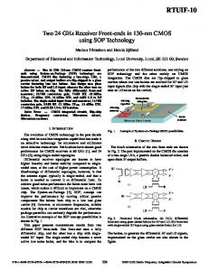 Two 24GHz Receiver Front-Ends in 130nm CMOS Using ... - CiteSeerX