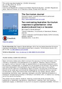 Two contrasting Australian Curriculum responses to ...