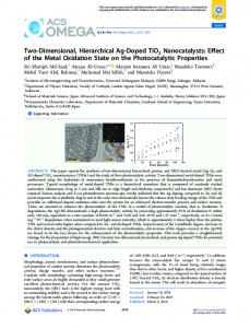 Two-Dimensional, Hierarchical Ag-Doped TiO2 ... - ACS Publications