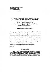 two echelon partial trade credit financing in a supply chain derived ...
