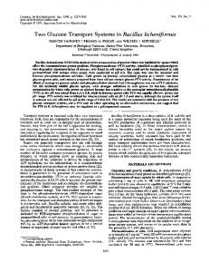 Two Glucose Transport Systems in Bacillus licheniformis - Journal of ...