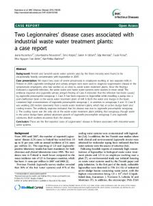 Two Legionnaires' disease cases associated with ... - CiteSeerX