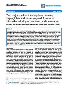 Two major ruminant acute phase proteins, haptoglobin and serum ...