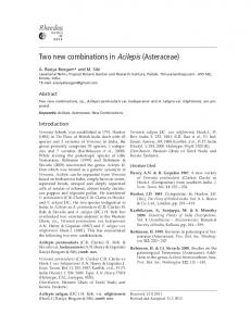 Two new combinations in Acilepis (Asteraceae). A. Rasiya ... - IAAT