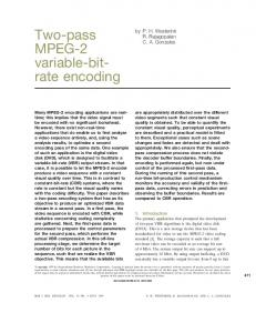 Two-pass MPEG-2 variable-bit- rate encoding - Semantic Scholar