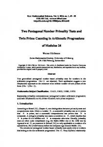 Two Pentagonal Number Primality Tests and Twin Prime ... - Hikari Ltd