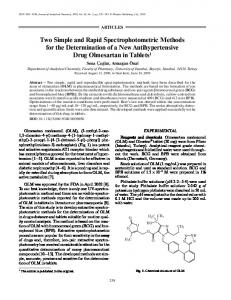 Two Simple and Rapid Spectrophotometric Methods ... - Springer Link