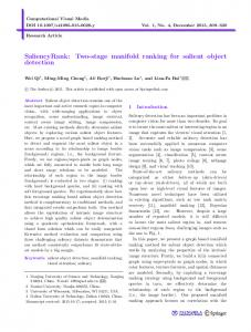 Two-stage manifold ranking for salient object detection - Springer Link