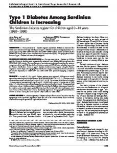 Type 1 Diabetes Among Sardinian Children Is ... - Diabetes Care