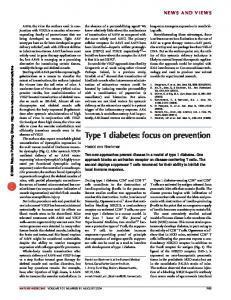 Type 1 diabetes: focus on prevention - Nature