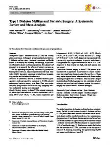 Type 1 Diabetes Mellitus and Bariatric Surgery: A Systematic ... - Spiral