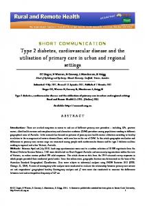 Type 2 diabetes, cardiovascular disease and the utilisation of primary ...