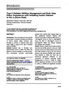 Type 2 Diabetes Mellitus Management and Body Mass ... - Springer Link