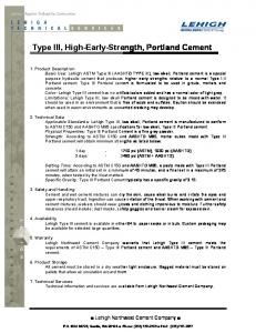 Type III, High-Early-Strength, Portland Cement - TCC Materials