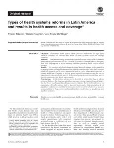 Types of health systems reforms in Latin America and